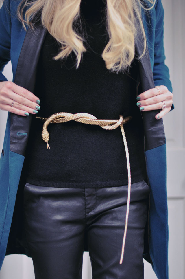 black on black - mixed textures -snake belt