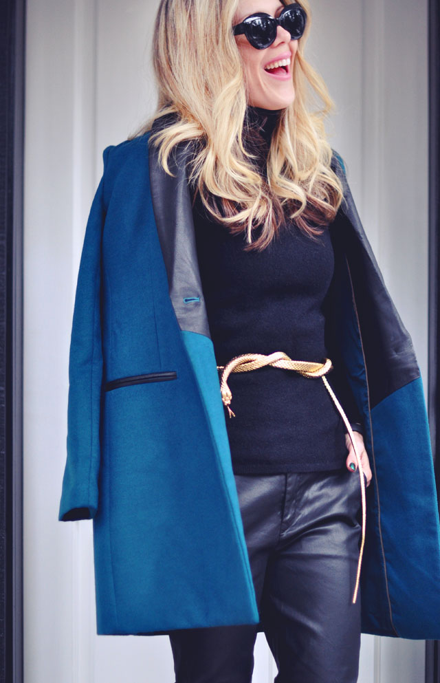 black on black -teal coat