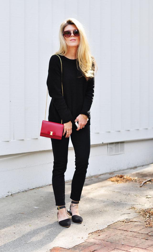 black on black with red bag