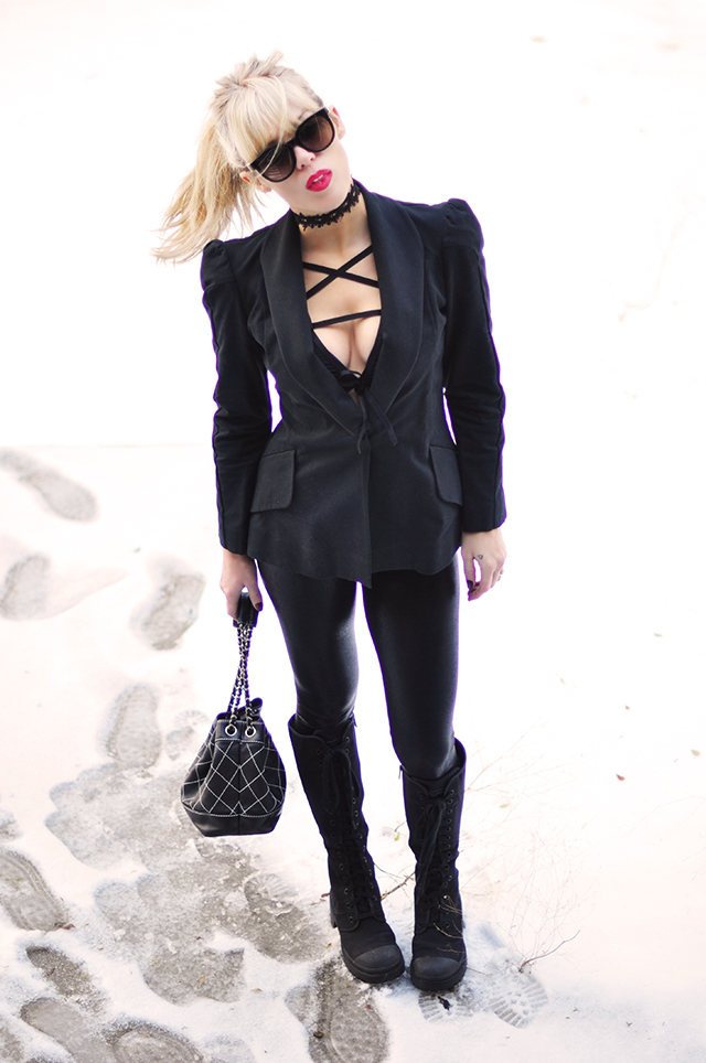 black on black_chanel bag_red lips_choker_strappy layering bra top