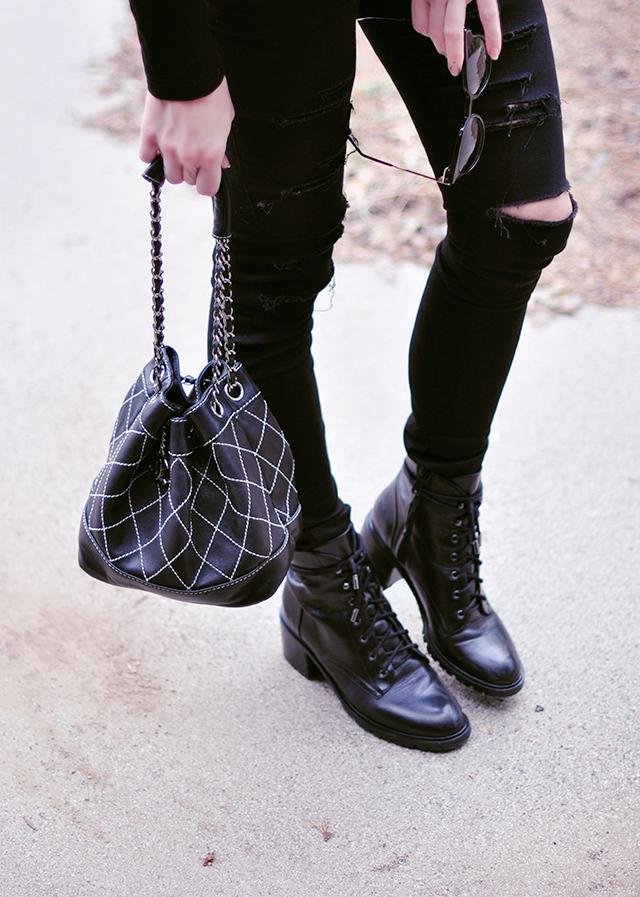 black on black_combat boots_vintage chanel mini bucket bag