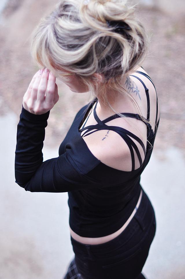 black on black_harness bra _shoulder and neck tattoo
