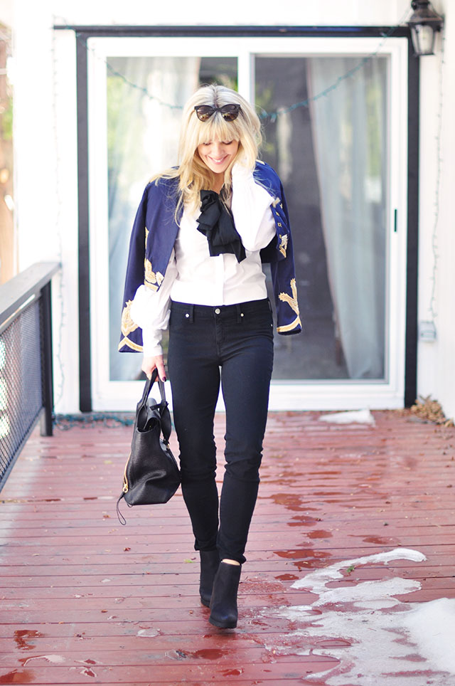 black skinny jeans - crisp white shirt-band jacket