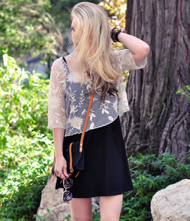 black slip dress with lace top