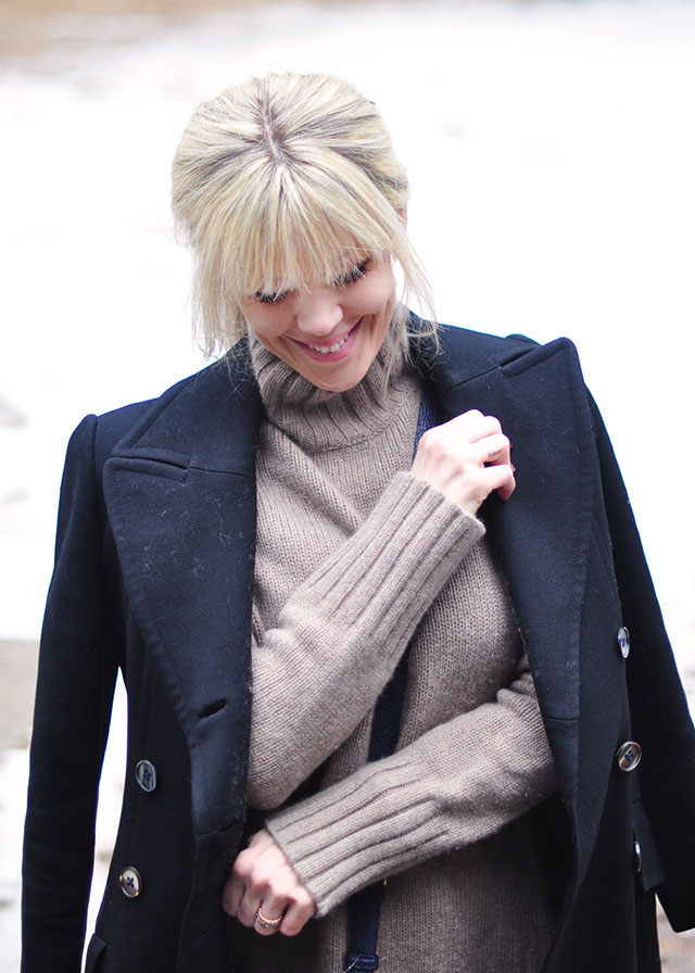 blonde bangs-low pony-winter layers