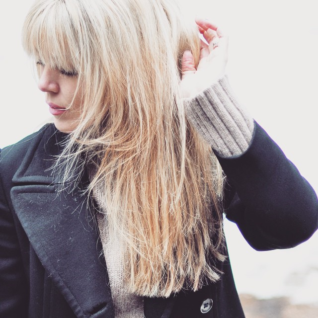 blonde hair with bangs