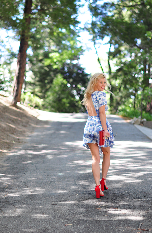blue and white dress with red shoes