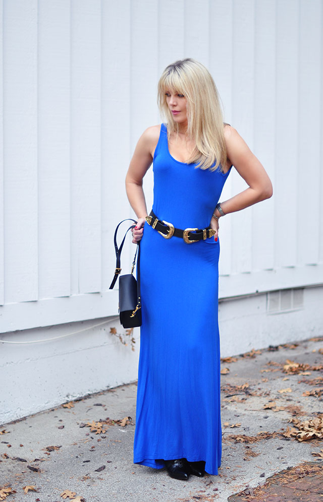blue maxi with belt