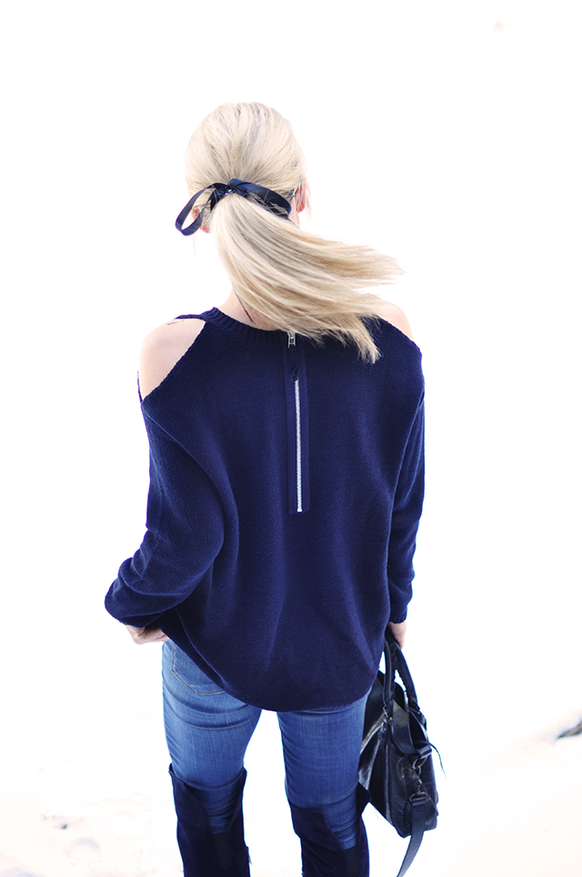 blue monochromatic_diy cut out shoulder sweater_low pony with a bow
