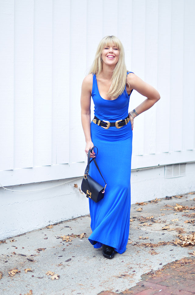 blue tank dress with b-low the belt double buckle
