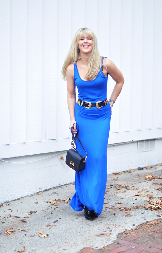 blue tank maxi dress with b-low the belt