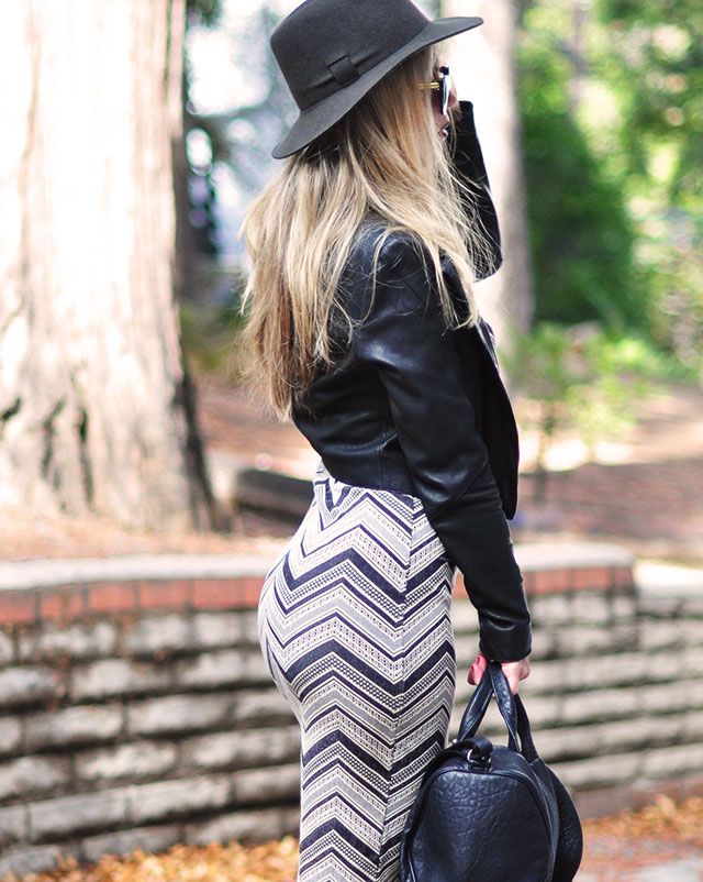 body con chevron print dress  with leather jacket