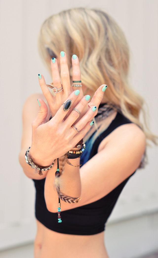 bohemian nails-  easy nail art manicure