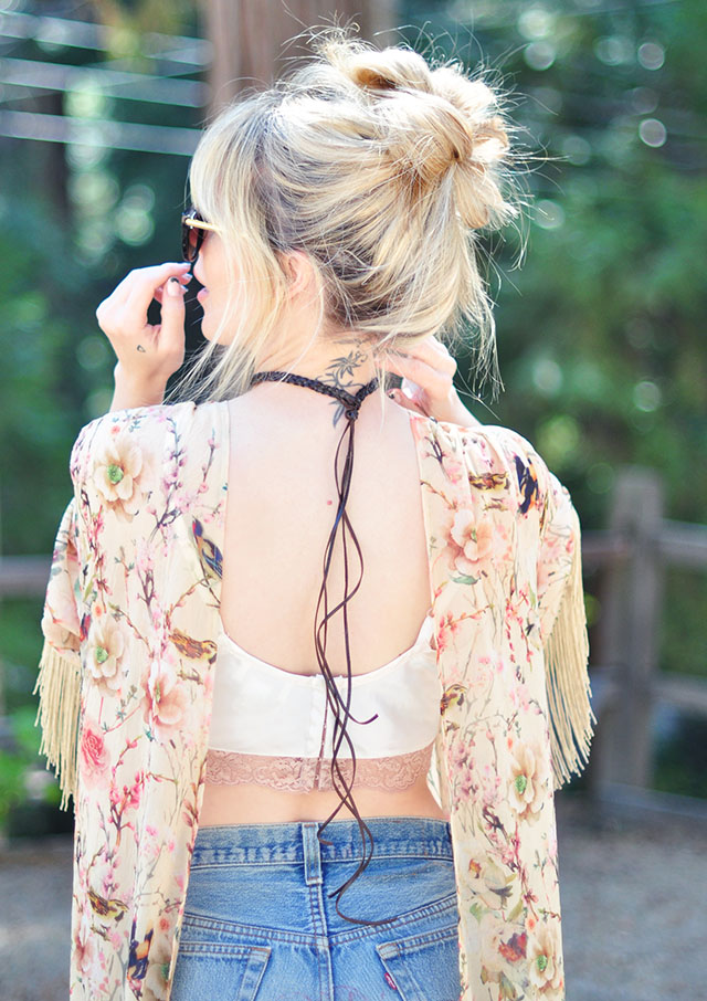 boho braided choker fringe in the back