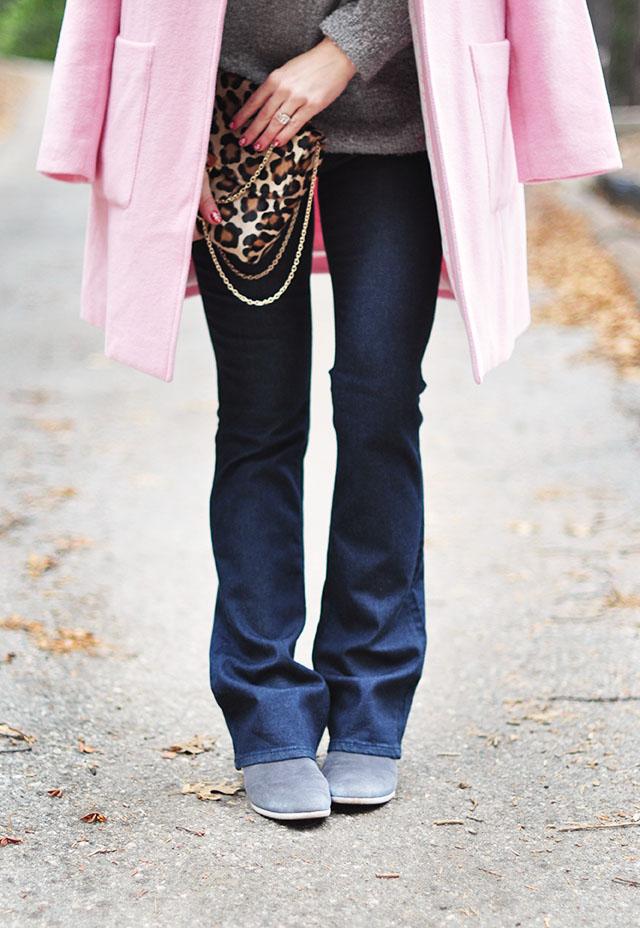 boot cut jeans -boots-pink coat-leopard bag