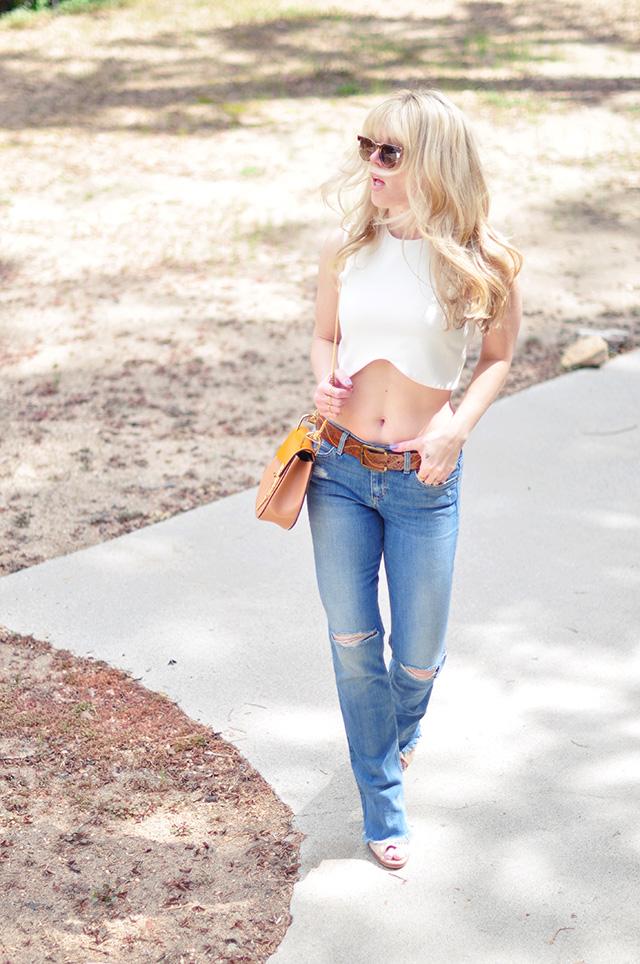 bootcut flare jeans_ crop top _chloe drew bag