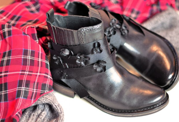 boots with black flowers