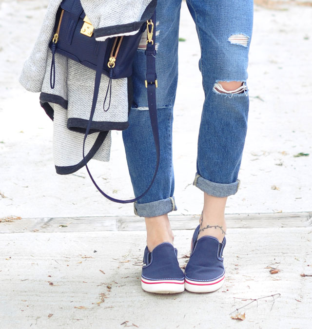 boyfriend jeans and slip on sneakers