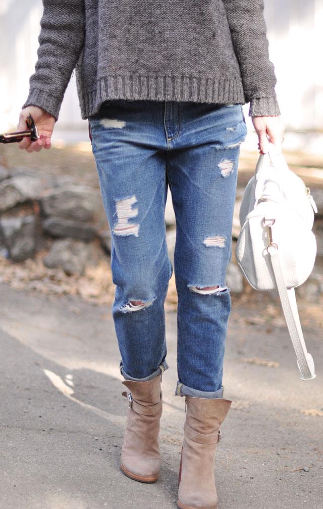 boyfriend jeans-blush boots-gray sweater-white bag