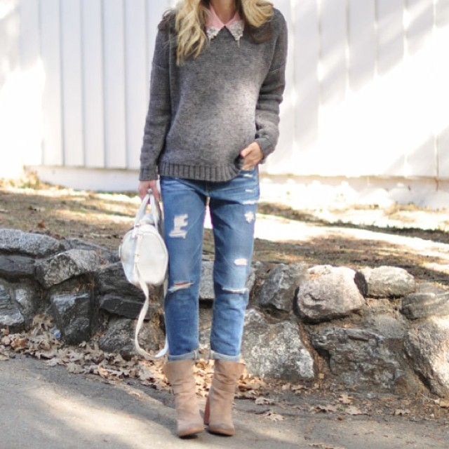 boyfriend jeans gray sweater