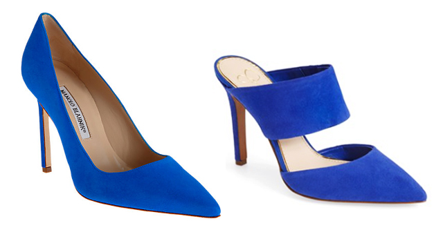 bright blue suede pumps