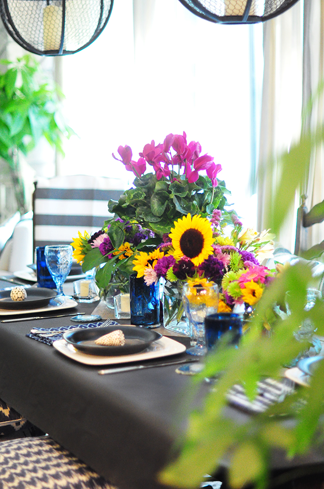 bright floral tablescape centerpiece _