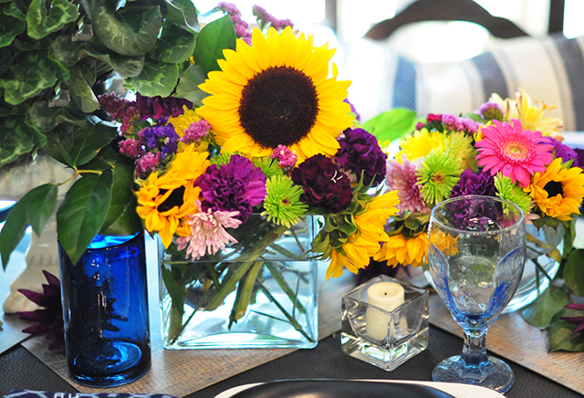 bright floral tablescape centerpiece