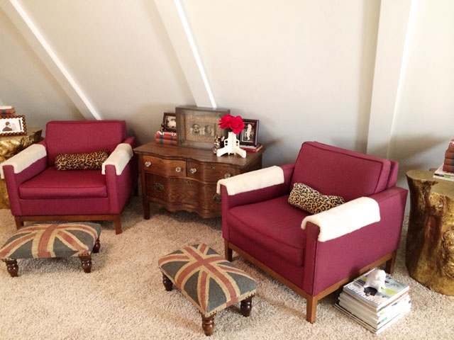 burgundy chairs-union jack foot stools