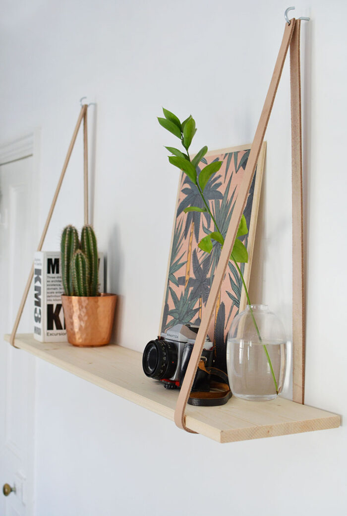 DIY Wooden Shelves with Leather Straps