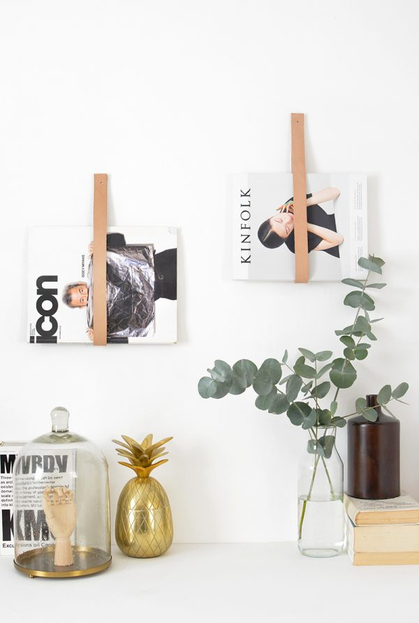 DIY Leather Strap Magazine Holders