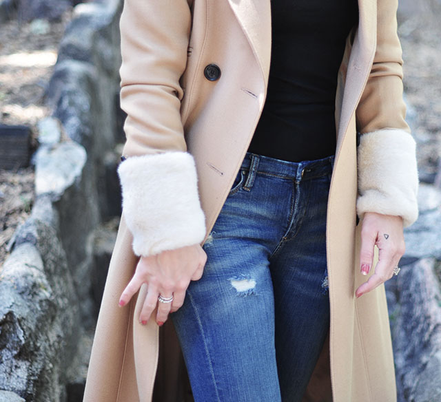 camel coat with fur cuffs _ diy detachable fur cuffs