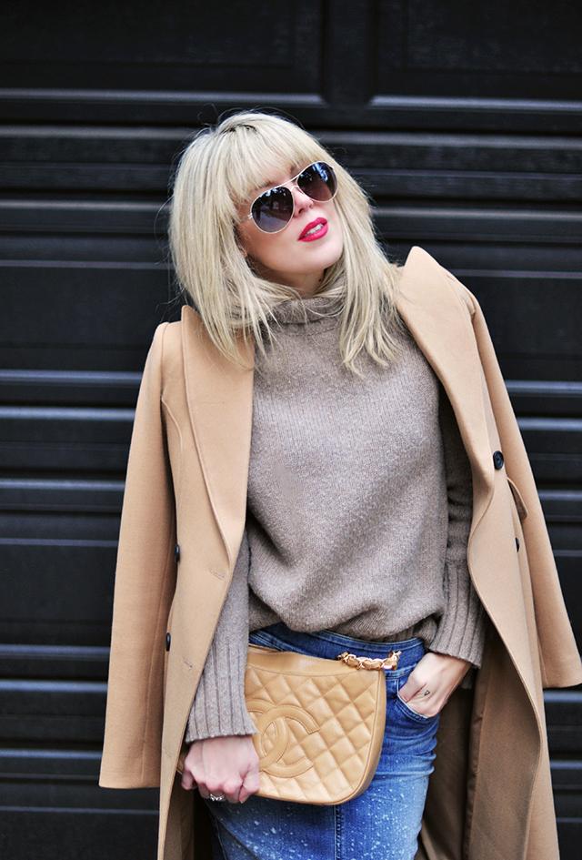 aviator sunglasses, camel coat, vintage chanel bag, fall style
