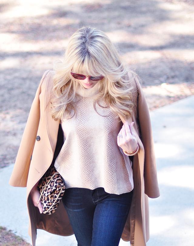 camel coat_snakeskin tank _leopard bag_70s hair