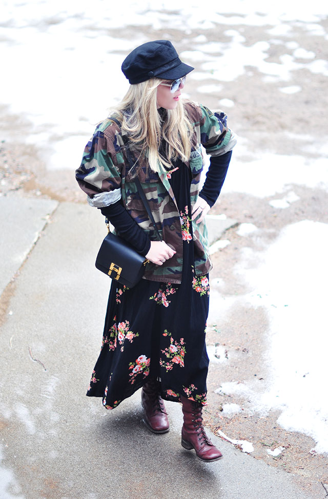 camo+floral print_maxi dress with boots
