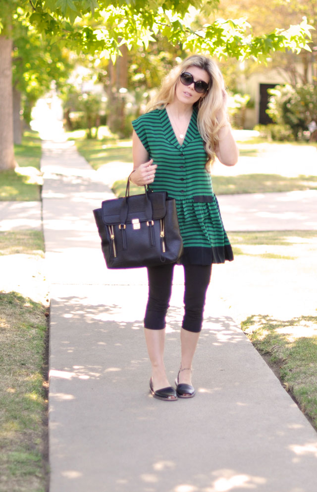 casual cute-striped dress-green and black