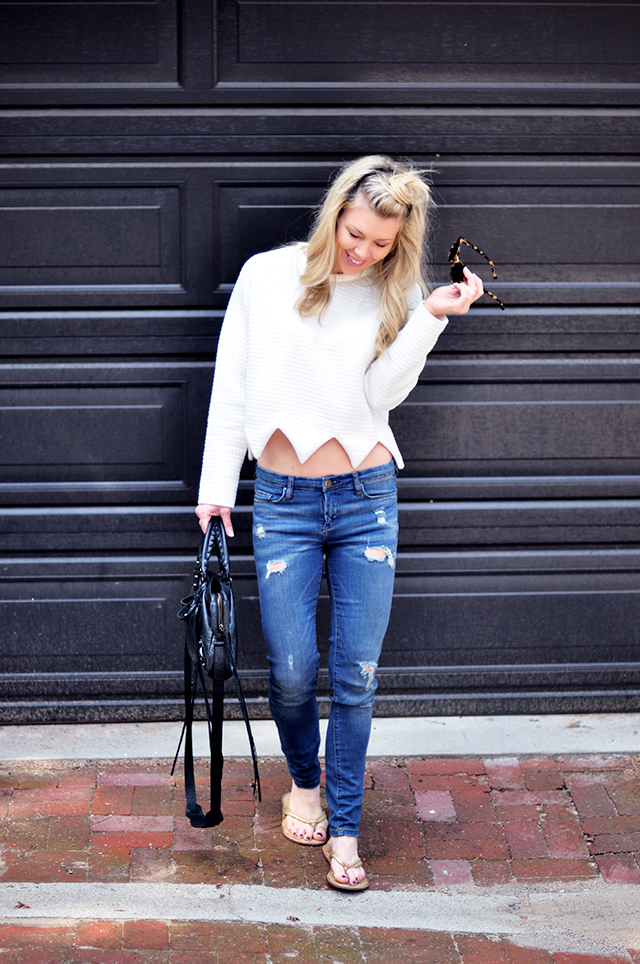 casual jeans and sweatshirt