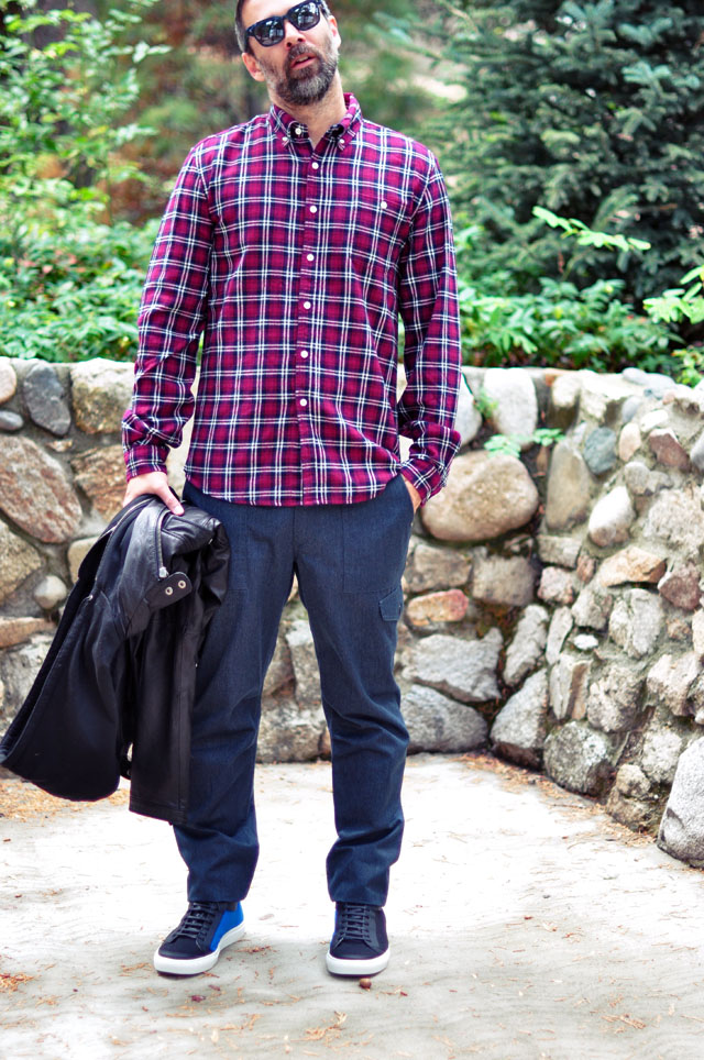 casual mens look with plaid shirt