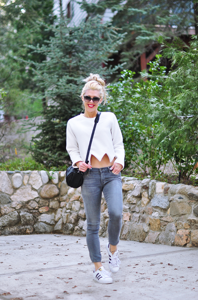 casual style, gray jeans, white cropped sweatshirt with zig zag hem, adidas superstars