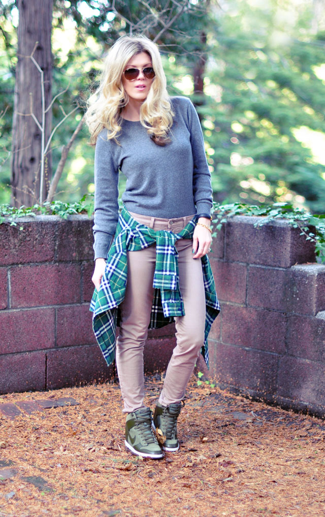 casual weekend outfit - green plaid + sneaker wedges