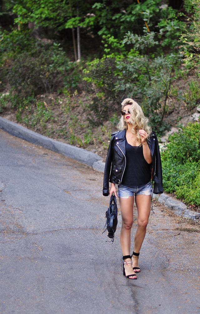 classic denim cut offs + leather jacket