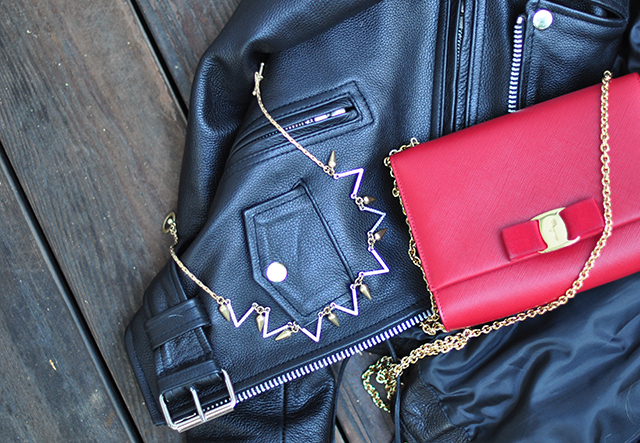 classic leather jacket_red ferragamo bag