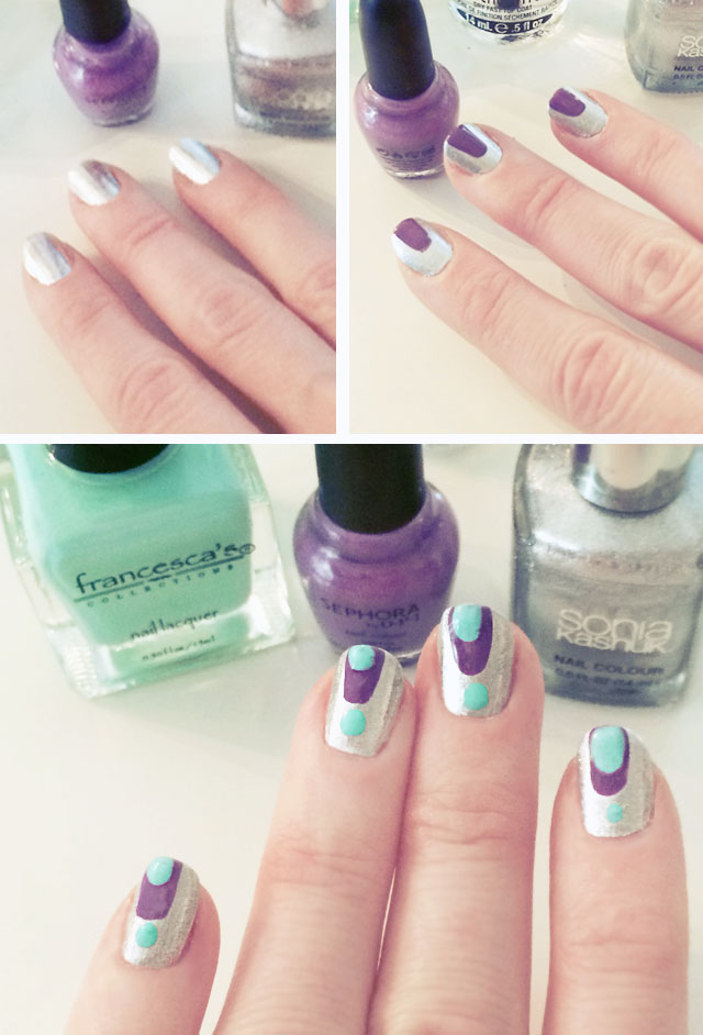 coachella nails - silver purple aqua nail art manicure