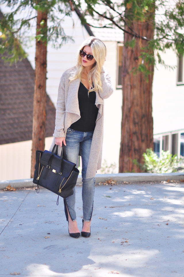 cozy chic -zipper leg jeans-oversized cardigan