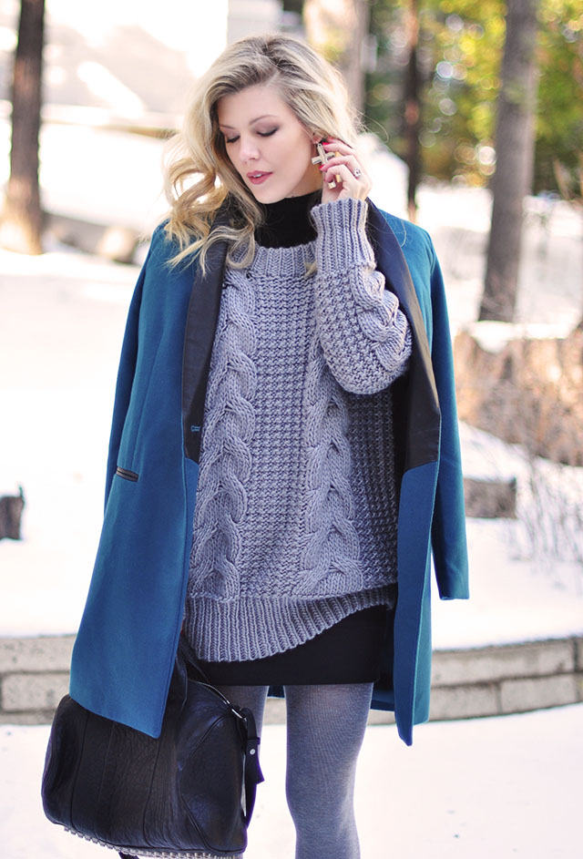 cozy gray sweater-black mini skirt -teal coat