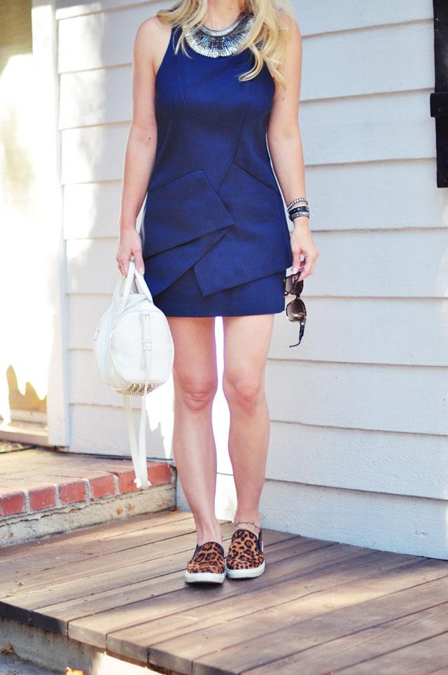 cute blue mini dress-leopard slip on shoes