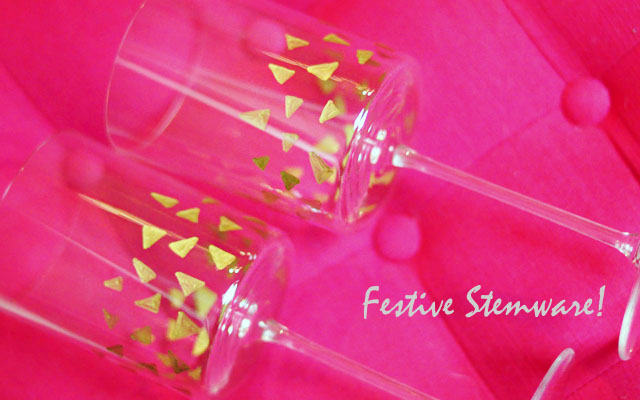 cute diy festive stemware with gold  geo accents