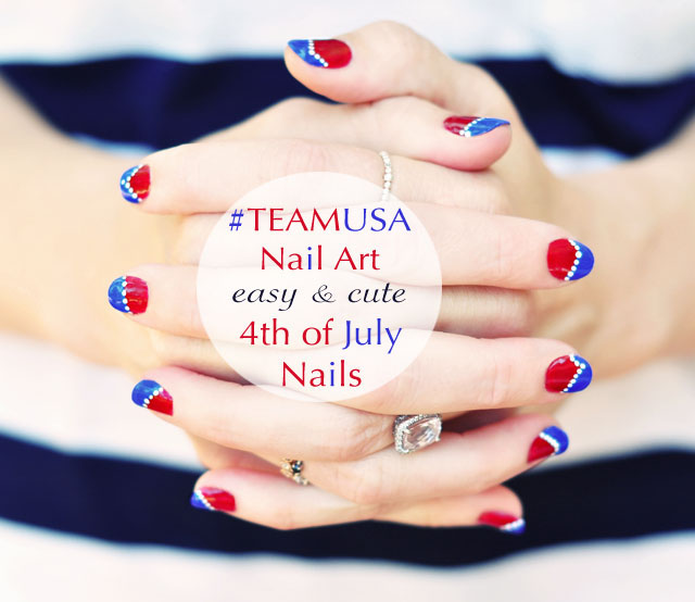 cute easy nail art- red white blue - usa nail