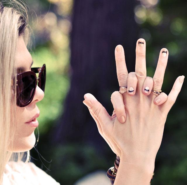 cute eyelash nail art