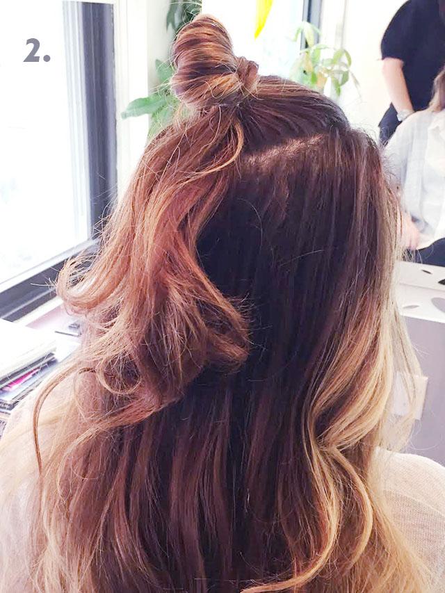 cute halfup up bun hair tutorial_2