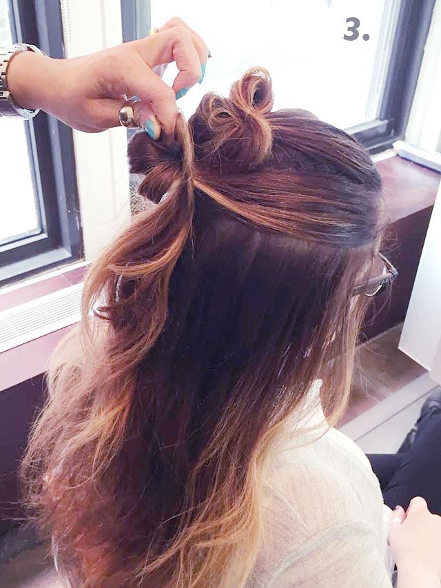 cute halfup up bun hair tutorial_3